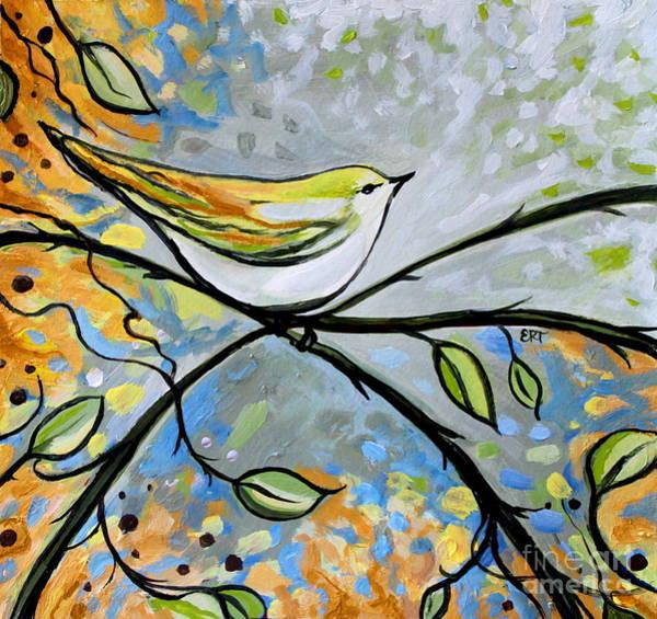 Yellow Bird Among Sage Twigs Poster