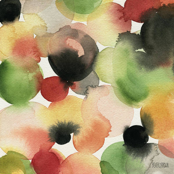 Yellow Green Orange Black Abstract Watercolor Poster