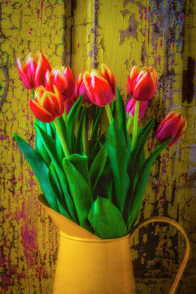 Yellow Pitcher Of Colorful Tulips Poster