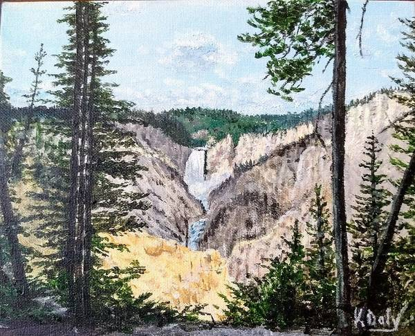 Poster featuring the painting Yellowstone Falls by Kevin Daly