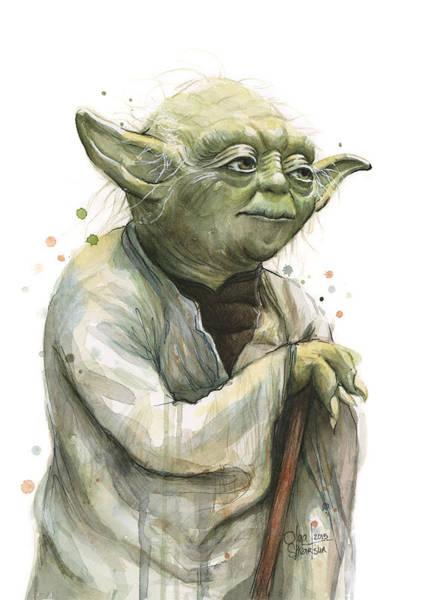 Yoda Watercolor Poster