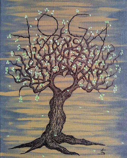 Poster featuring the drawing Yoga Love Tree by Aaron Bombalicki