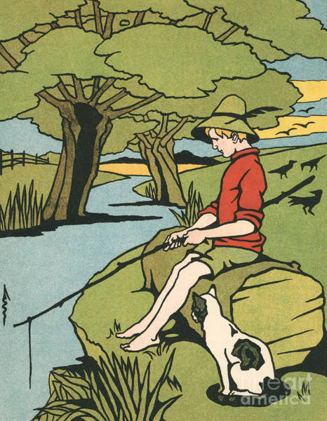 Young Boy Sitting On A Log Fishing In A Small River In The Country With His Cat Poster