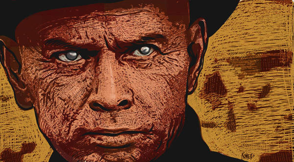 Poster featuring the digital art Yul Brynner by Antonio Romero