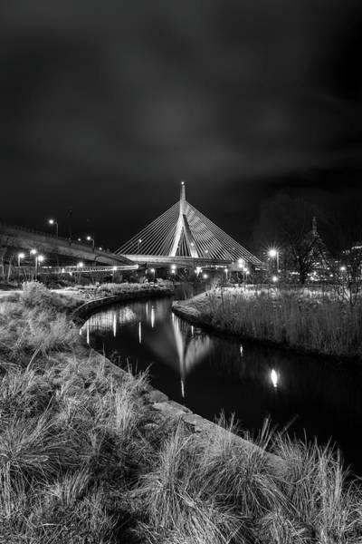 Zakim Bridge Reflecting Under A Moody Sky Poster