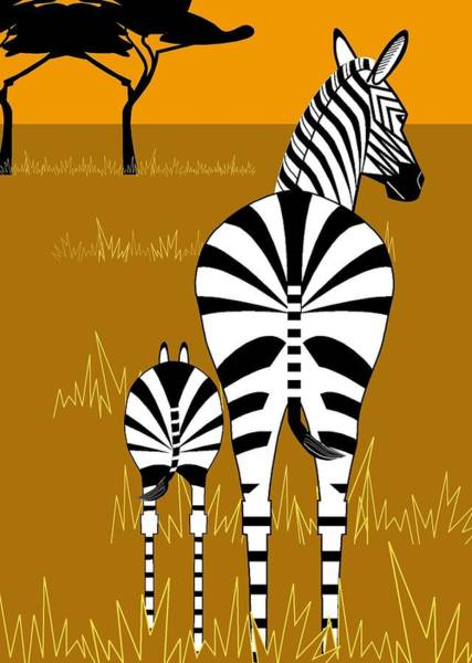 Zebra Mare With Baby Poster