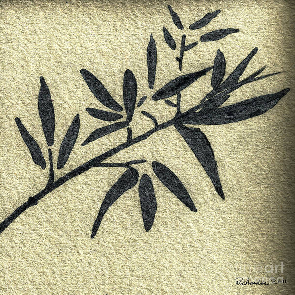 Zen Sumi Antique Botanical 4a Ink On Fine Art Watercolor Paper By Ricardos Poster