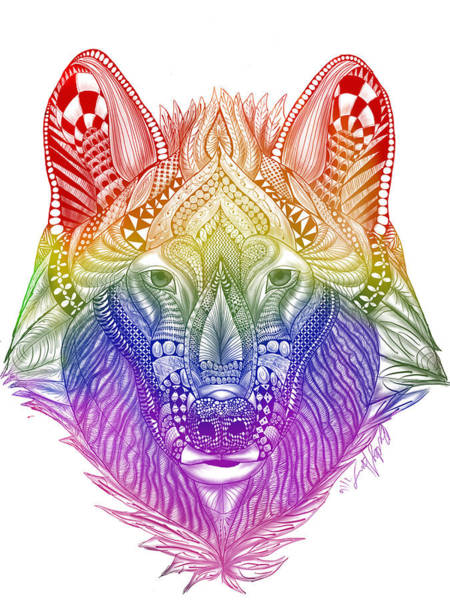 Zentangle Inspired Art- Rainbow Wolf Poster