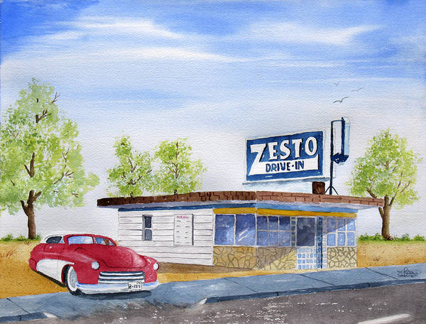 Poster featuring the painting Zesto Drive In 12 X 16 Print by Rich Stedman