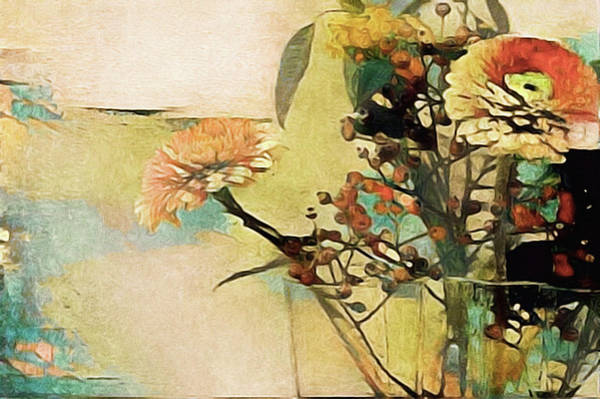 Poster featuring the mixed media Zinnias From The Garden by Susan Maxwell Schmidt