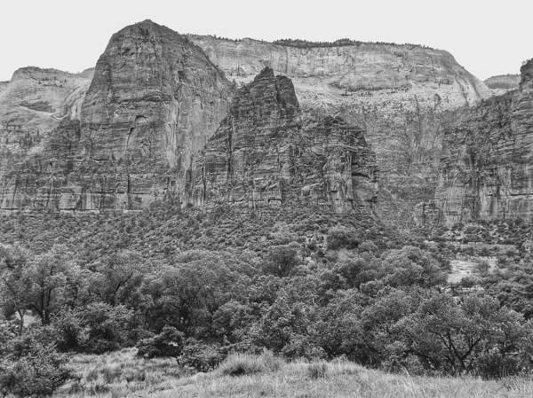 Zion Canyon Monochrome Poster