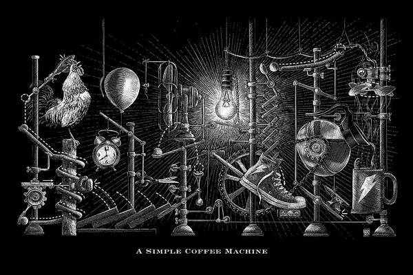 Poster featuring the drawing A Simple Coffee Machine by Clint Hansen
