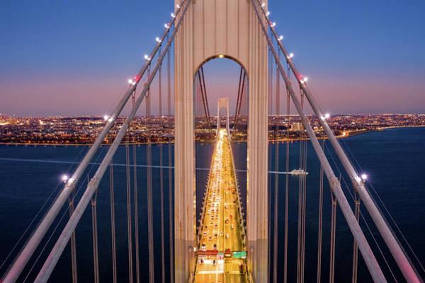 Poster featuring the photograph Aerial View Of Verrazzano Narrows Bridge by Mihai Andritoiu