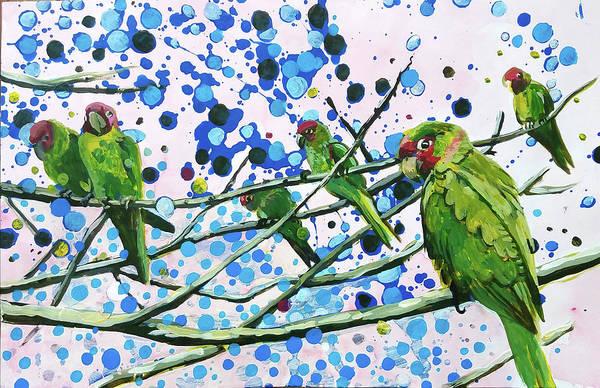 Blue Dot Parakeets Poster