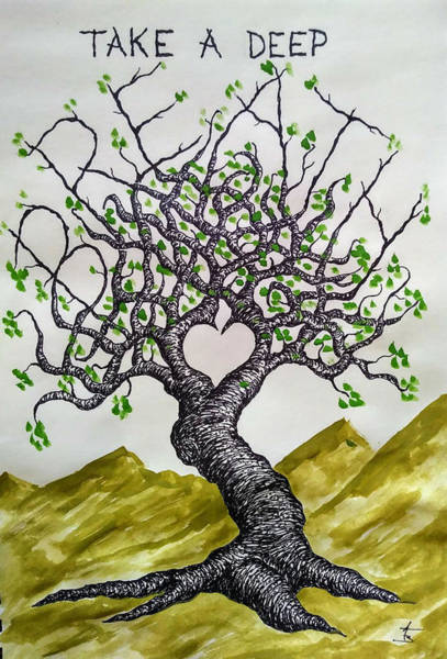 Poster featuring the drawing Breathe Love Tree by Aaron Bombalicki