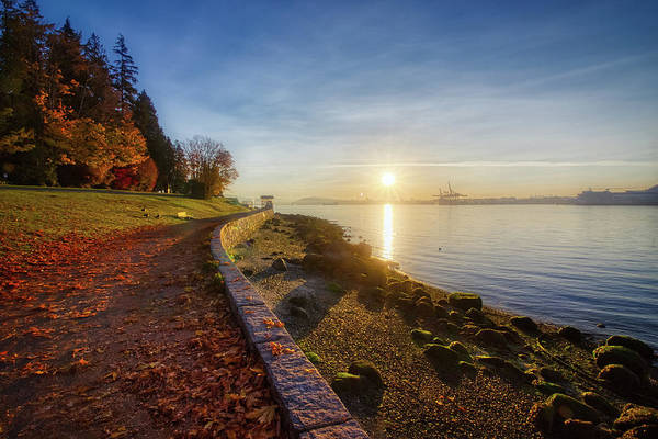 Colorful Autumn Sunrise At Stanley Park Poster