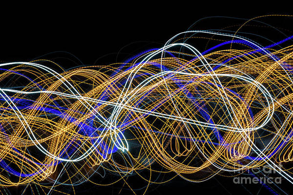 Colorful Light Painting With Circular Shapes And Abstract Black Background. Poster