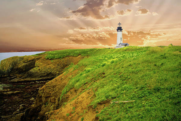 Lighthouse On  Yaquina Head  Poster
