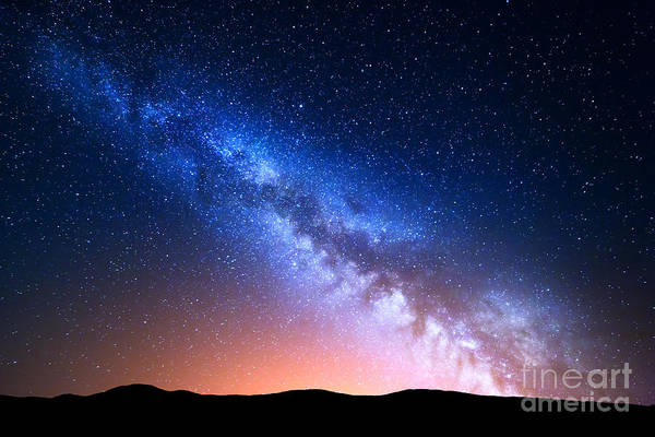 Night Landscape With Colorful Milky Way Poster