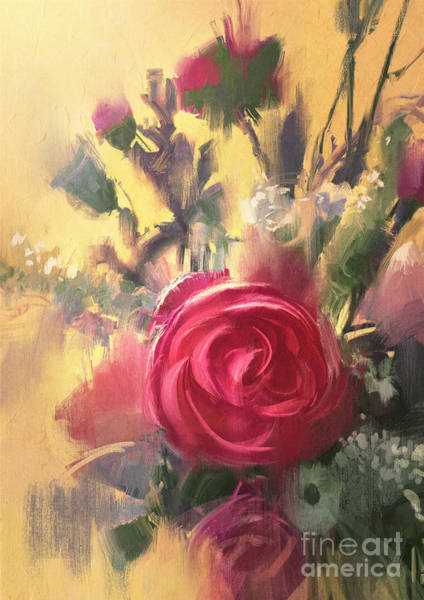 Painting Showing Bouquet Of Beautiful Poster