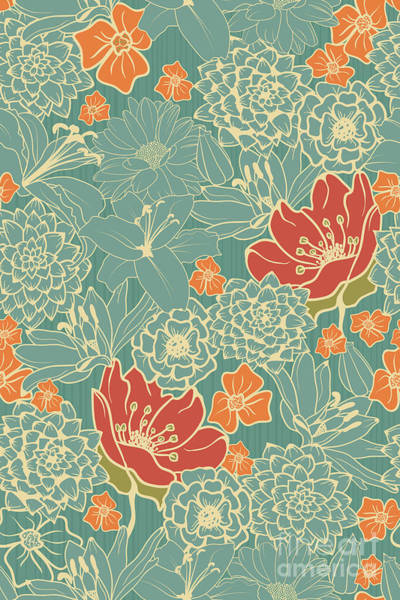 Seamless Floral Pattern With Red Poster