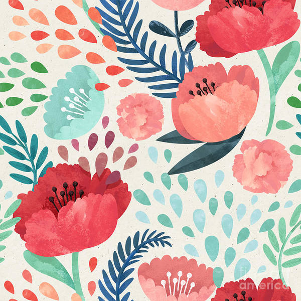 Seamless Hand Illustrated Floral Poster