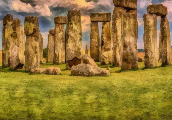 Poster featuring the painting Stonehenge by Harry Warrick