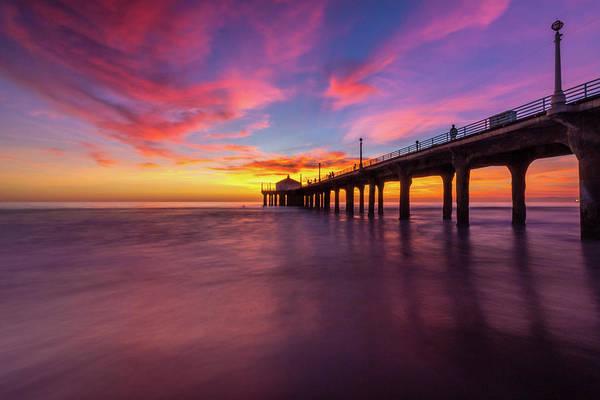 Stunning Sunset At Manhattan Beach Pier Poster