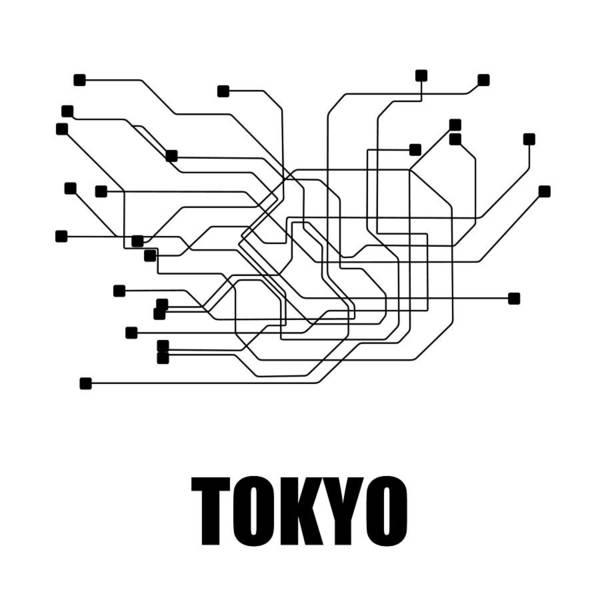 Tokyo White Subway Map Poster