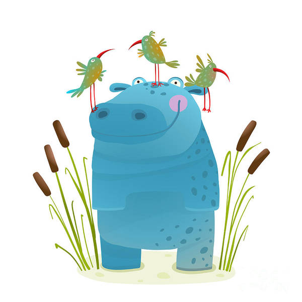 Wildlife Hippo With Cute Birds Smiling Poster