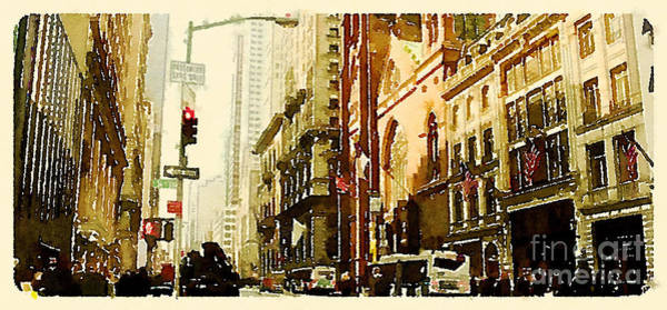 Water Color New York City Scene Poster