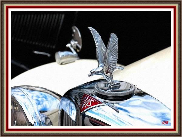 A 1930's Alvis - Eagle Lifting Off - Hood Ornament L A S With Printed Frame. Poster