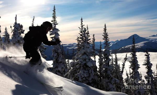 A Skier Glides Through Fresh Powder On Poster