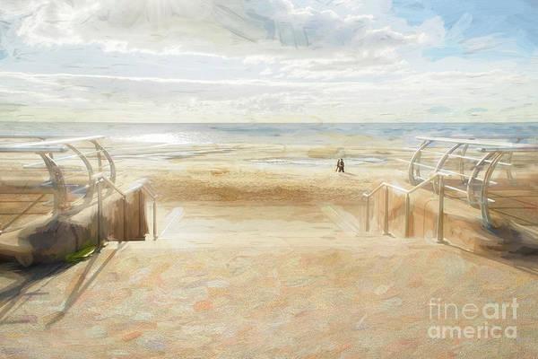 A Stroll Along Blackpool Beach Poster
