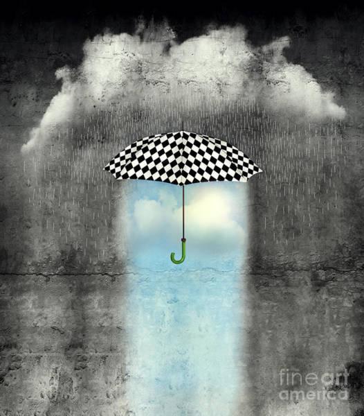 A Surreal Image Of An Umbrella Poster