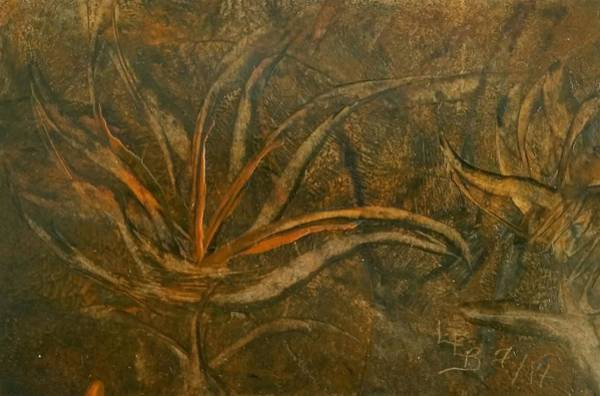 Abstract Brown/orange Floral In Encaustic Poster