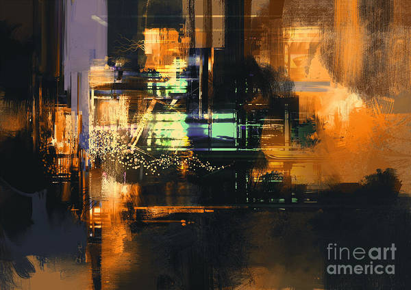 Abstract Digital Painting Of Textured Poster