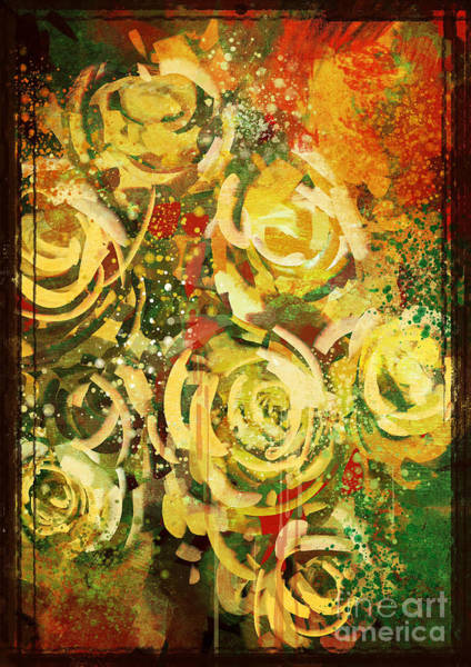 Abstract Flowers Vintage Style,digital Poster
