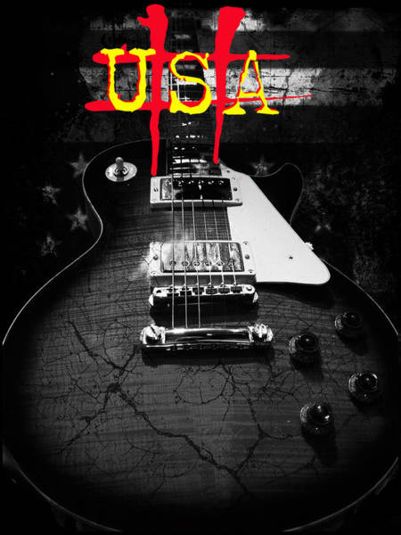 Abstract Relic Guitar Usa Flag Poster