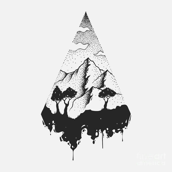 Abstract The Mountains. Hand Draw Poster