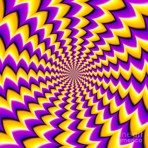Abstract Yellow Background Spin Illusion Poster