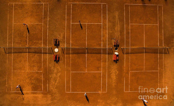 Aerial Shot Of A Tennis Courts With Poster