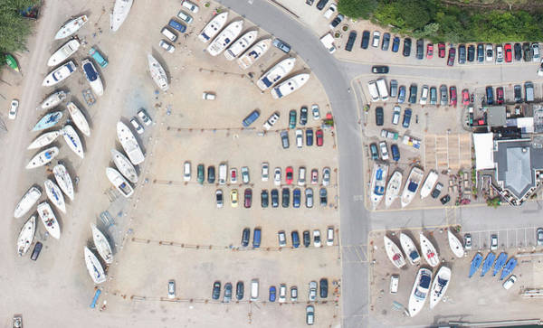 Aerial View Of Dock And Parking Lot Poster