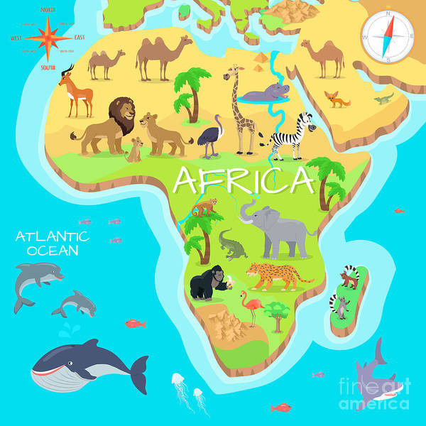 Africa Mainland Cartoon Map With Local Poster