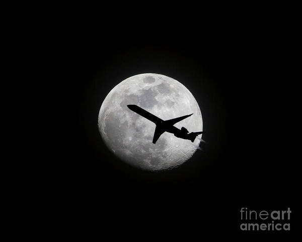 Airliner Passing In Front Of A Full Moon Poster