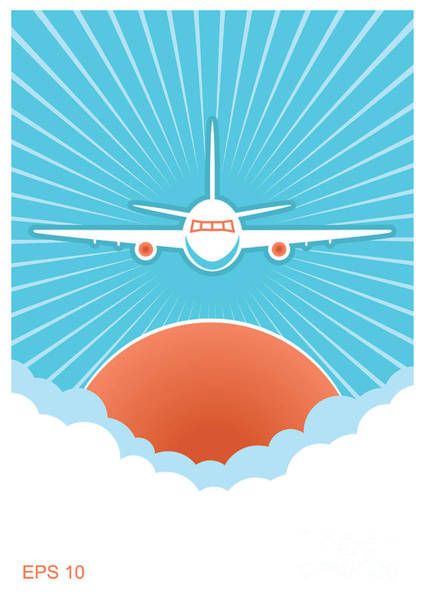 Airplane In Blue Sky And Sun.vector Poster