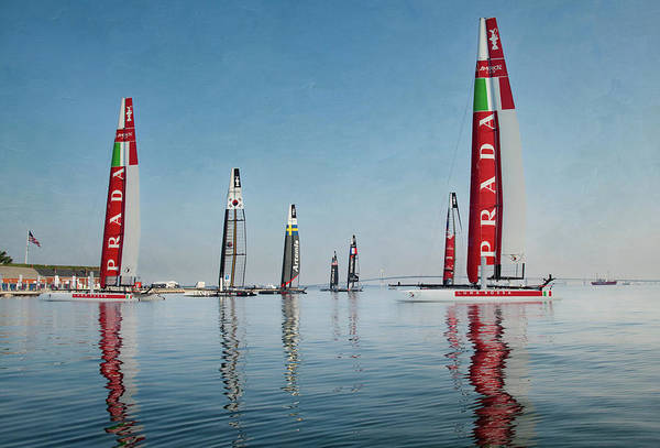 America Cup Boat Reflections Poster