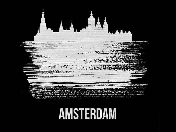 Amsterdam Skyline Brush Stroke White Poster