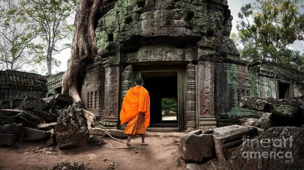 Angkor Wat Monk. Ta Prohm Khmer Ancient Poster