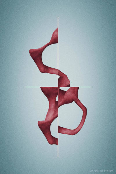 Antelucan Red - Abstract Shell With Cross Poster